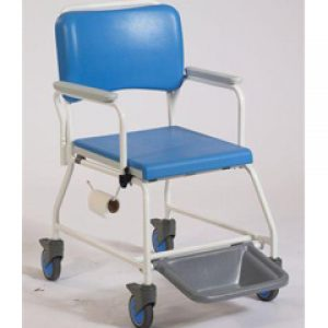 18 inch Seat Width Standard Atlantic commode & shower chair with Disposable Pan Rack