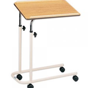 Adjustable Height Overbed Table with Split Legs, Castors and Wooden Top