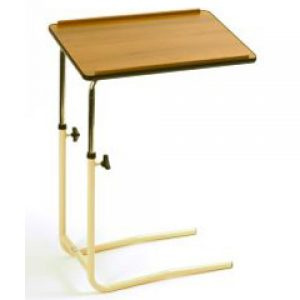 Adjustable Height Overbed Table with Split Legs and Wooden Top