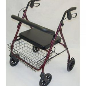Heavy Duty 4 Wheeled Steel Bariatric Safety Walker with rest seat - Red