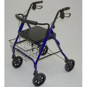 Standard 4 Wheeled Steel Bariatric Safety Walker with rest seat - Blue