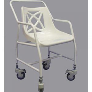 Adjustable Height Mobile Shower Chair with Arms