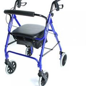 Lightweight Aluminium Safety Walker with High Rest Seat - Blue